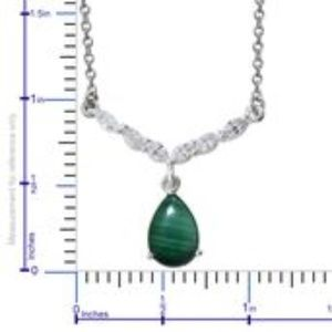 Jewelry - African Malachite, Sim Dia Platinum O/ Sterling/S